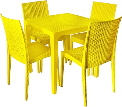 Cello Plastic 4 Seater Dining Set(Finish Color - Yellow)