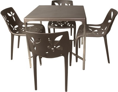 Cello Plastic 4 Seater Dining Set(Finish Color - Brown)