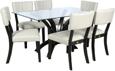 Parin Glass 6 Seater Dining Set(Finish Color - black)