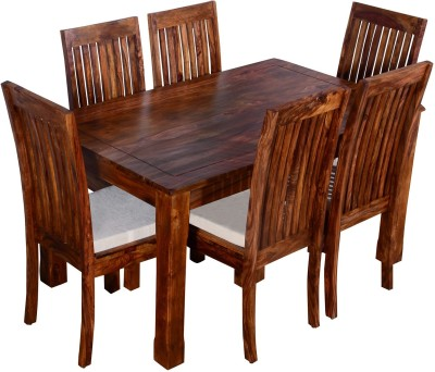 Ringabell Viand Six Seater Solid Wood 6 Seater Dining Set(Finish Color - Teak)