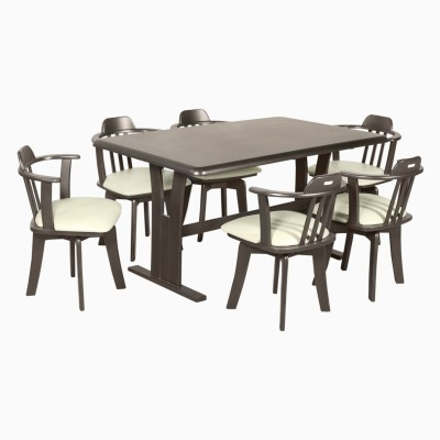Godrej Interio Atlanta Dining Set Solid Wood 4 Seater Dining Set(Finish Color - Dark Brown)