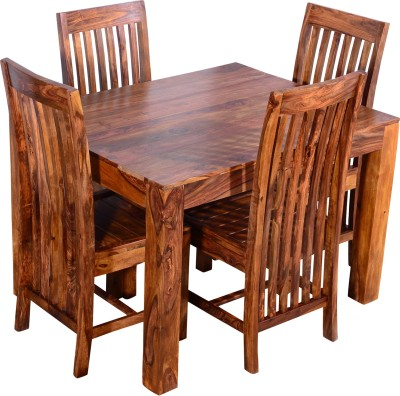 Ringabell Solid Wood 4 Seater Dining Set(Finish Color - Teak)