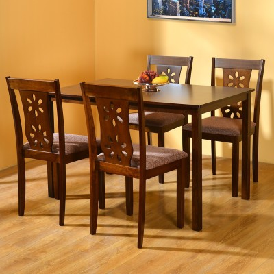 @home by Nilkamal SUTLEJ Solid Wood 4 Seater Dining Set(Finish Color - Cherry)