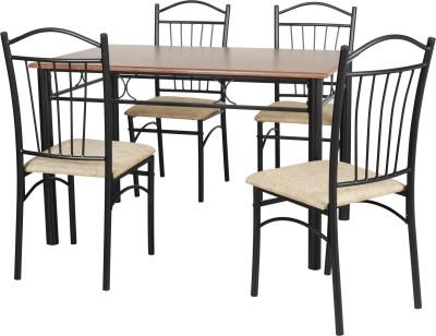 FurnitureKraft Warsaw Metal 4 Seater Dining Set(Finish Color - Black)