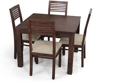 Urban Ladder Arabia Square - Zella Solid Wood 4 Seater Dining Set(Finish Color - Mahogany)