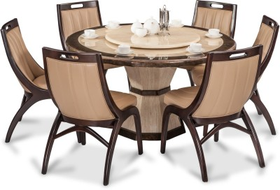 Durian FENG/35404 Stone 6 Seater Dining Set(Finish Color - Beige)