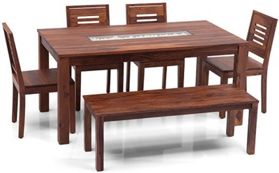 Urban Ladder Brighton - Capra - Bench Solid Wood 6 Seater Dining Set(Finish Color - Teak)