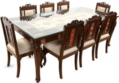 ExclusiveLane Solid Wood 8 Seater Dining Set  (Finish Color - Walnut Brown)