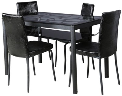 Parin Glass 4 Seater Dining Set(Finish Color - black)