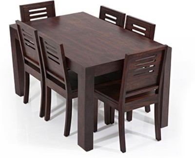 Home Edge Solid Wood 6 Seater Dining Set(Finish Color - Walnut Light Polish)