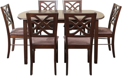 HomeTown Oliver Solid Wood 6 Seater Dining Set(Finish Color - Brown)