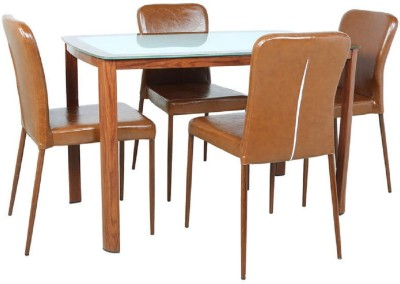 Parin Glass 4 Seater Dining Set(Finish Color - brown)