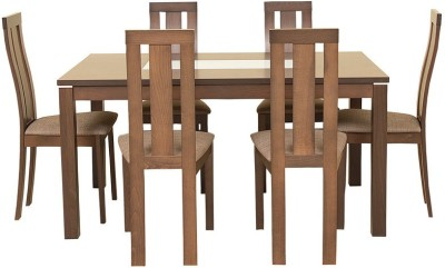 HomeTown Delton Glass 6 Seater Dining Set(Finish Color - Brown)