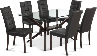 Durian PELICAN Glass 6 Seater Dining Set(Finish Color - Dark Walnut)