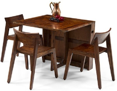Urban Ladder Danton 3 - to - 6 Extendable - Gordon Solid Wood 2 Seater Dining Set(Finish Color - Teak)