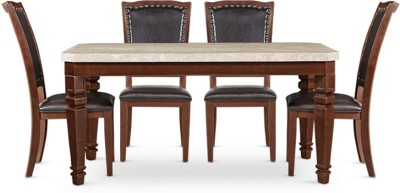 HomeTown Bruce Stone 6 Seater Dining Set(Finish Color - Beige/Black)
