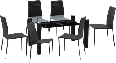 HomeTown Presto Glass 6 Seater Dining Set(Finish Color - Dark Brown)