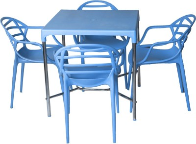 Cello Plastic 4 Seater Dining Set(Finish Color - Blue)