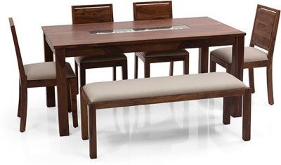 Urban Ladder Brighton - Oribi - Bench Solid Wood 6 Seater Dining Set(Finish Color - Teak)