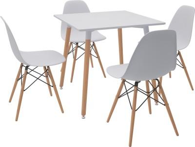 Housefull Engineered Wood 4 Seater Dining Set(Finish Color - White)
