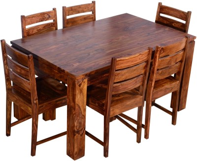 Ringabell Modish Six Seater Solid Wood 6 Seater Dining Set(Finish Color - Teak)