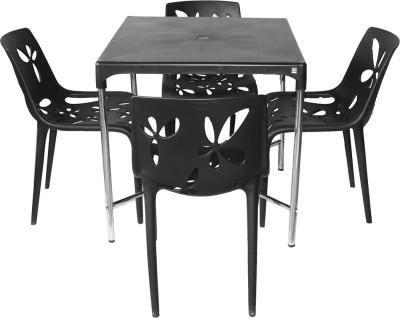 Cello Plastic 4 Seater Dining Set(Finish Color - Black)