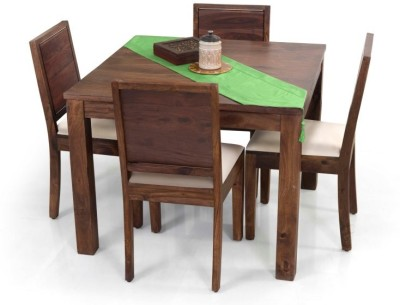 Home Edge Solid Wood 4 Seater Dining Set(Finish Color - Light Brown Polish)