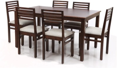 Evok Eastern Solid Wood 6 Seater Dining Set(Finish Color - Brown)