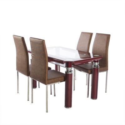 Irony Furniture Glass 4 Seater Dining Set(Finish Color - Maroon)