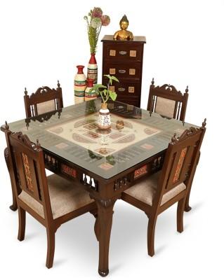 9611ae3293 50% OFF on ExclusiveLane Teak Wood Solid Wood 4 Seater Dining Set(Finish  Color - Walnut Brown) on Flipkart   PaisaWapas.com