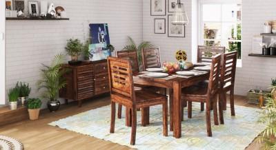 Urban Ladder Danton 3 - to - 6 Extendable - Capra Solid Wood 6 Seater Dining Set(Finish Color - Teak)