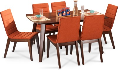 Durian JEFFREY Solid Wood 6 Seater Dining Set(Finish Color - Walnut)