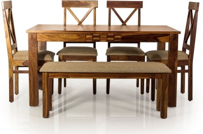 Evok Silvia Solid Wood 6 Seater Dining Set(Finish Color - Brown)
