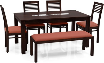 Urban Ladder Brighton - Zella - Bench Solid Wood 6 Seater Dining Set(Finish Color - Mahogany)