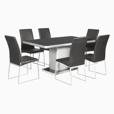 Godrej Interio Neo & Novice Dining Set Glass 6 Seater Dining Set(Finish Color - Black::Silver)