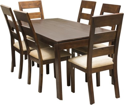 InLiving Solid Wood 6 Seater Dining Set(Finish Color - Brown)