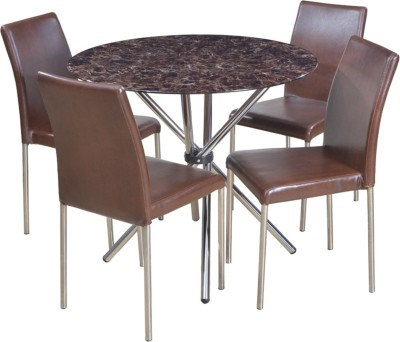 HomeTown Corral Glass 4 Seater Dining Set(Finish Color - Brown)
