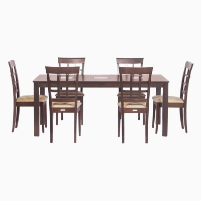 Godrej Interio Leo & Lisa Dining Set Solid Wood 6 Seater Dining Set(Finish Color - Indian Mahogany)