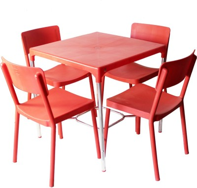 Cello Plastic 4 Seater Dining Set(Finish Color - Red)
