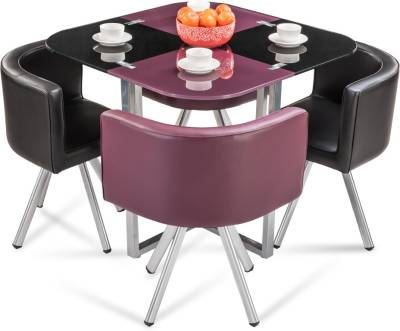 Durian NEON Glass 4 Seater Dining Set  (Finish Color - Purple/Black)