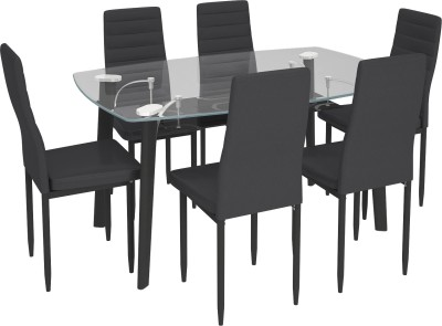 Housefull Glass 6 Seater Dining Set(Finish Color - BLACK)