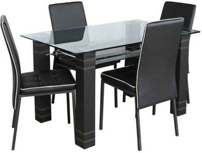 Parin Glass 4 Seater Dining Set(Finish Color   Black) Best Dining Sets Price