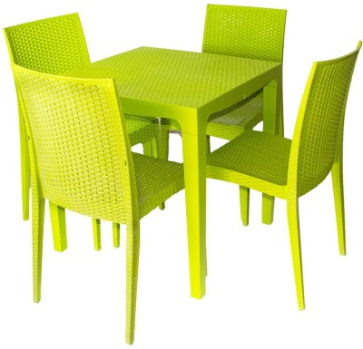 Cello Plastic 4 Seater Dining Set(Finish Color - Green)