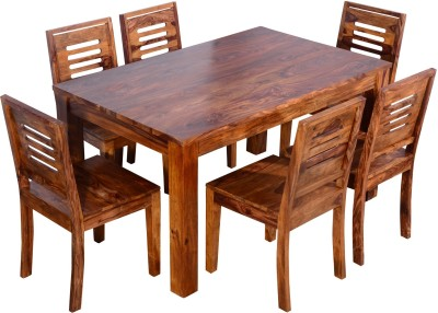 Ringabell Square Six Seater Solid Wood 6 Seater Dining Set(Finish Color - Teak)
