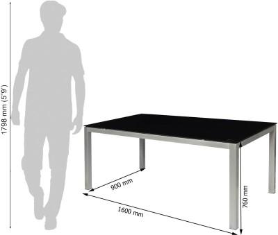 Godrej Interio Mod Knight Glass 6 Seater Dining Table(Finish Color - Black)