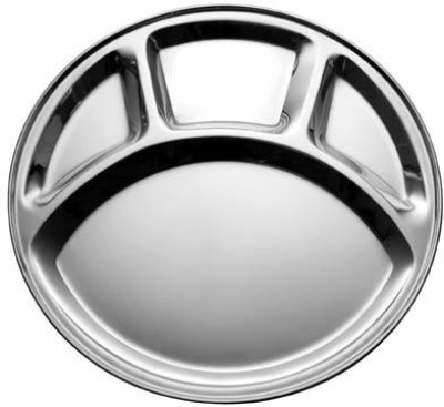 King Traders TULSI -Stainless Steel Four Compartment Round Plate / Thali/ Mess Tray/ Dinner Plate Set of 1 pcs- 33.5 cm each Dinner Set(Stainless Steel)  available at flipkart for Rs.299