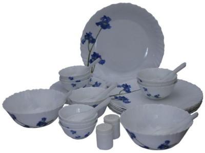 Laopala Blue Orchids Pack of 35 Dinner Set(Glass, Opalware) at flipkart