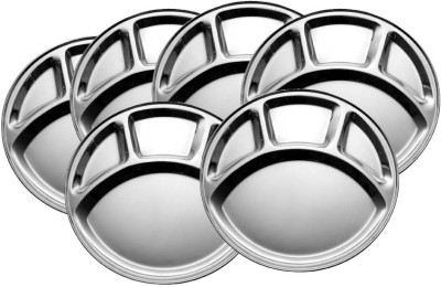 King Traders TULSI -Stainless Steel Four Compartment Round Plate / Thali/ Mess Tray/ Dinner Plate Set of 6 pcs- 33.5 cm each Dinner Set(Stainless Steel)  available at flipkart for Rs.1050