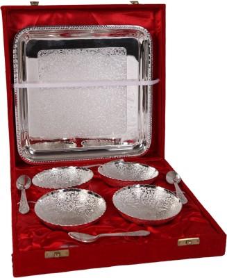 India Shoppe Pack of 9 Dinner Set(Silver Plated) at flipkart