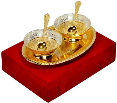 Adiidev Silver And Gold Plated Brass Bowl And Tray Set Of 5 Pcs Pack of 5 Dinner Set(Brass) at flipkart
